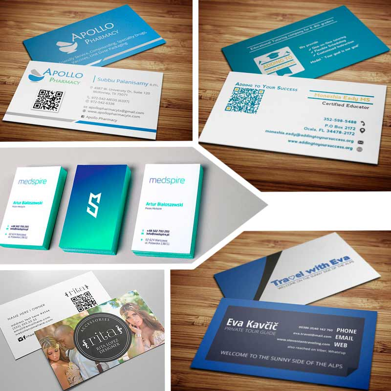 Double sided business cards creative ideas for your business double sided business card template with qr code fbccfo