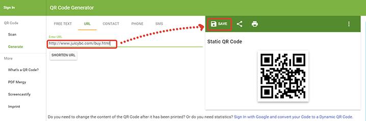 QR code business card tutorial: step 3